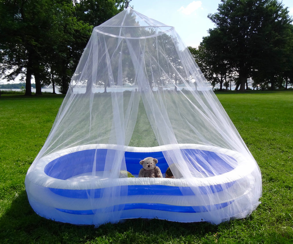 Use a Tedderfield King-California King Size Mosquito Net to cover any kiddie pool for & Kiddie Pool Mosquito Net for Bug Free Playtime u2013 Tedderfield ...